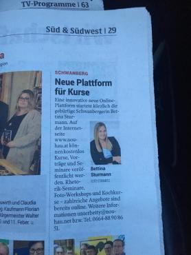 nouhau.net in der Kleinen Zeitung SÜD & SÜDOST 2018