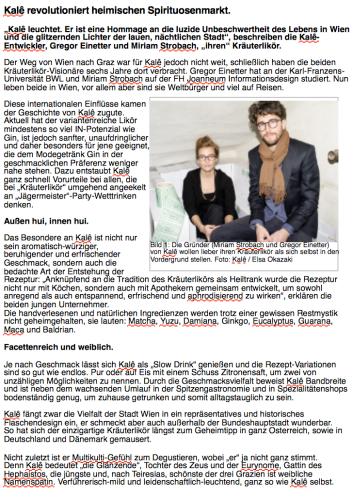 Pressebericht kale.at / 2017